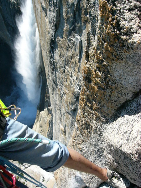 Rock Climbing Photo: pitch 2 with yosemite falls