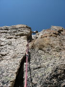 Rock Climbing Photo: moving into the chimney system on the second pitch...