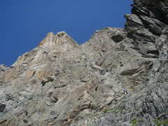 Rock Climbing Photo: Jesse C scrambling up on easy terrain between the ...