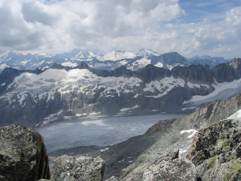Views from the top of the route, westwards over the Rhone glacier