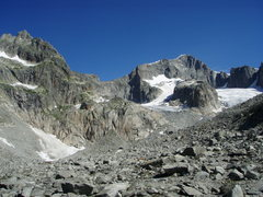 Rock Climbing Photo: Approaching the area, with the Gross Furkahorn mas...
