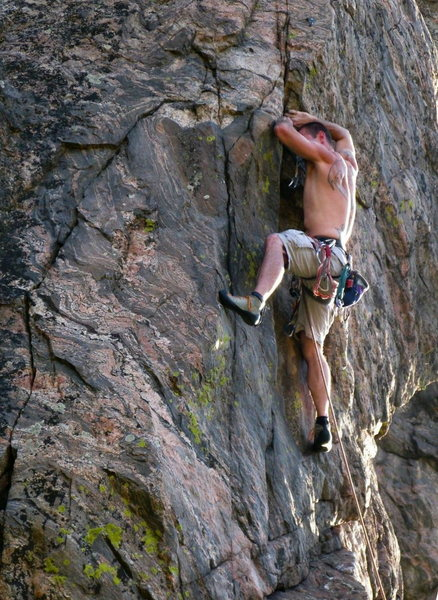 Rock Climbing Photo: Eric on Beasto approaching the crux clip.