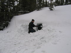 Rock Climbing Photo: Nick busy on our snow cave.  This was a side proje...