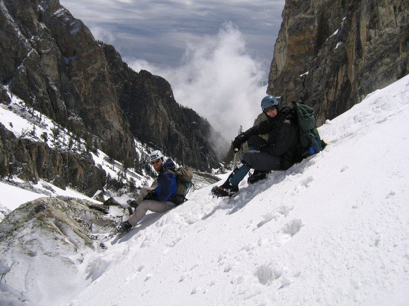 Nick and Aren taking a rest while climbing on Nez Perce around base camp during brief window of good weather.