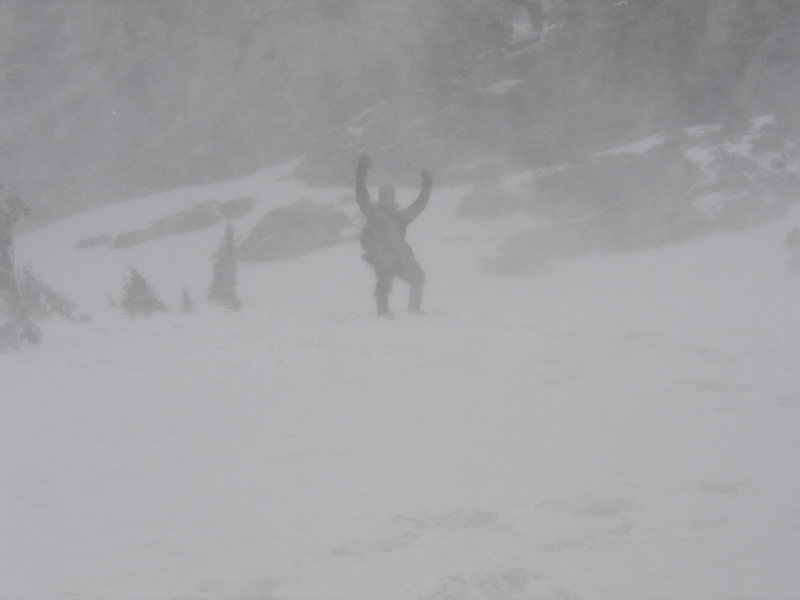 Jason just having fun in the snow after failed attempt on South Teton due to whiteout conditions.