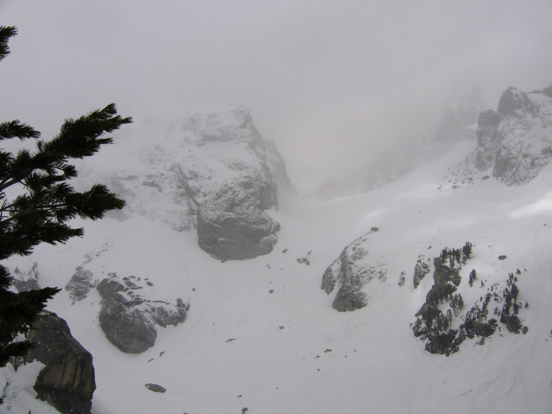 Saddle between Middle and Grand Teton hidden by whiteout.  This was typical during our trip.