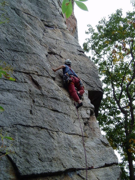 Rock Climbing Photo: Stepping up to the stance below the crux.