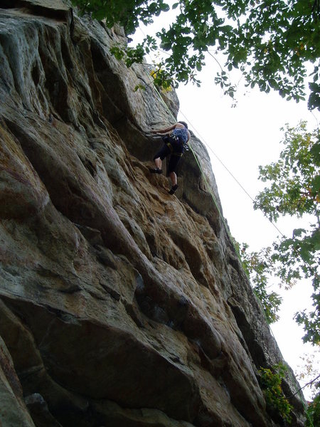 Feeling out the crux move.