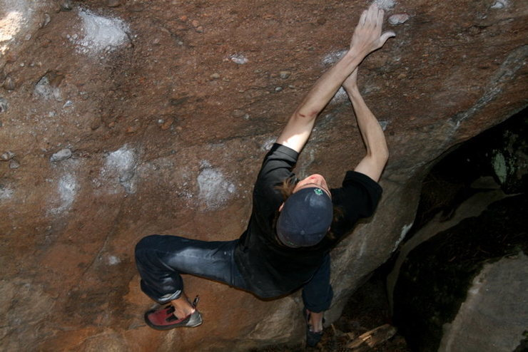 Rock Climbing Photo: Moving up to the sharp, little pocket.