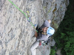 Rock Climbing Photo: Elmo contemplateing the crux moves on the first pi...