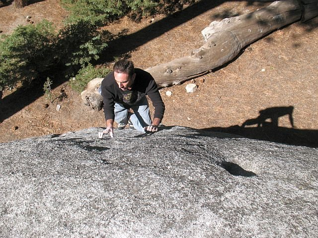 James high off the deck on a fun V0 problem, Black Mountain