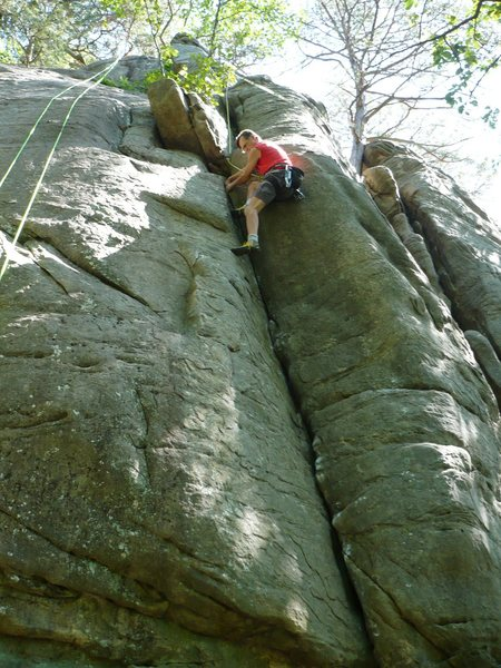 "Rock Climbing Photo: ""Magic Ed"" on Wobbly Dihedral after a 20..."