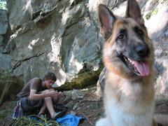 Rock Climbing Photo: Gabriel stealing the spotlight, gearing up for Pen...