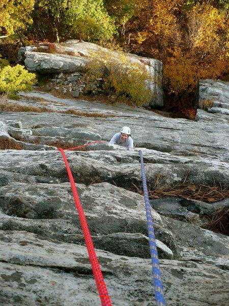 Johanna climbing the 2nd pitch of Immaculate Virgin.
