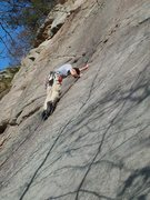 Rock Climbing Photo: Mikey's Mantle. Must do route on the slab wall