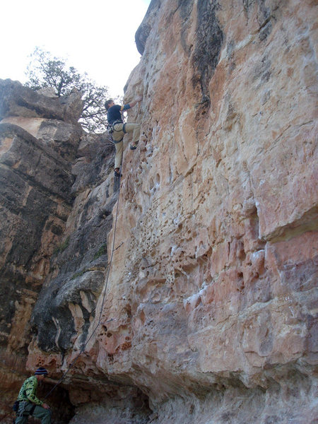 Second ascent of Bluto Tastes An Olive. Greg DeMatteo climbing