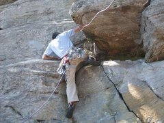 Rock Climbing Photo: starting Buzzard's Breath. It's a long way to the ...