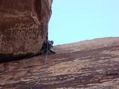 Rock Climbing Photo: Brett working the crux and gaining the corner, tha...