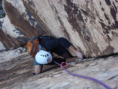 Rock Climbing Photo: Barely hanging on while searching for a comfortabl...