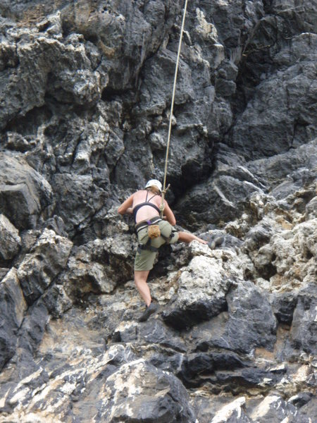 bolted route prob 5.7 at the same beach, huge swing from the top rope!