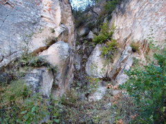 Rock Climbing Photo: Approach Picture No. 5 showing static line at base...