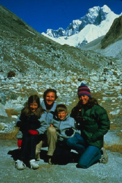 Makalu Basecamp with the family. 1986 copyright