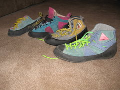 Rock Climbing Photo: I never throw anything away. My first 4 pairs in c...