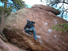 "Rock Climbing Photo: I'm 6'1"" and here's me trying to pull my left..."