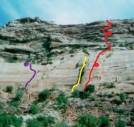 Rock Climbing Photo: The far right route. Red line