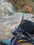 Rock Climbing Photo: I had a good enough knee bar at the crux wide part...