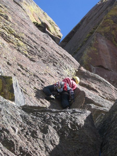 Pete getting 'the knack' of a sandbag 5.6 on The East Ridge.