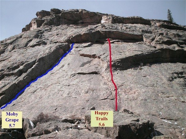 1st pitch of Moby Grape (5.7) and Happy Trails (5.6)   Also, I believe Original Sin (5.9) is between - just a few feet right of Moby, and can be top roped from Moby Grape's anchors.<br>