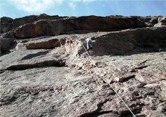 "Rock Climbing Photo: Brenda going over the crux ""nose"" of Hap..."