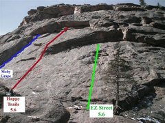 Rock Climbing Photo: Photo shows location of 1st pitches of Moby Grape ...