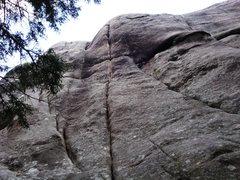 """Rock Climbing Photo: """"Love Below"""" climbs the obvious splitter..."""