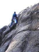 "Rock Climbing Photo: 2ME enjoys the upper crack on ""Love Above&quo..."