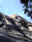 "Rock Climbing Photo: 2ME massaging the crack on ""Love Below""."