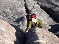 "Rock Climbing Photo: Eric Hansen about to crux on ""Love Below&quot..."