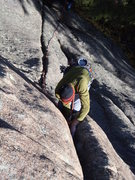 Rock Climbing Photo: Eric sinks in deep.