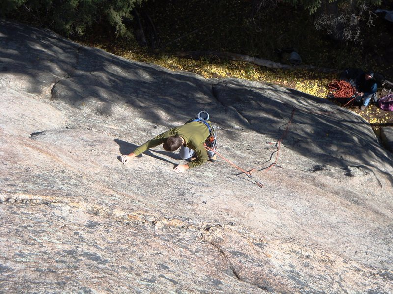Eric Hansen feels his way past the first crux.