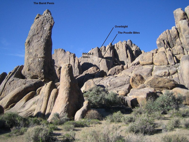 Rock Climbing Photo: Poodle Wall and the Burnt Penis from the road to t...