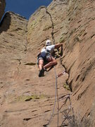 Rock Climbing Photo: Just past the stiffer lower section (and the bag o...