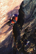 Rock Climbing Photo: Devils Lake. Gills Nose, the unprotected lower sec...