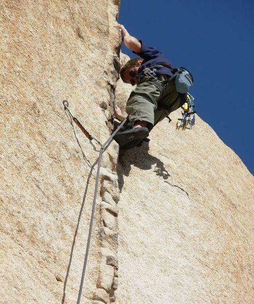 Rock Climbing Photo: Wolfgang Braun at age 12 onsighting Pinched Rib.