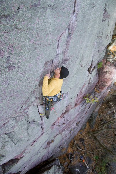 Devils Lake. Lost Face Overhangs. It ain't over 'til it's over. Henning Boldt climbing. October '08.