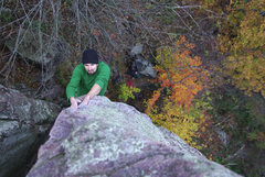 Rock Climbing Photo: Devils Lake. Son of Great Chimney. Arete near the ...