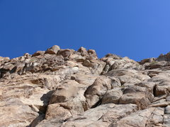 Rock Climbing Photo: Starting to cross left towards the big flake on pi...