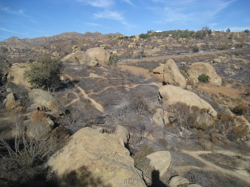 Rock Climbing Photo: Stoney Fire Oct 2008 - Slanderland I & II area