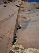 Rock Climbing Photo: Chad smoothly ascends Battle of the Bulge while Ia...