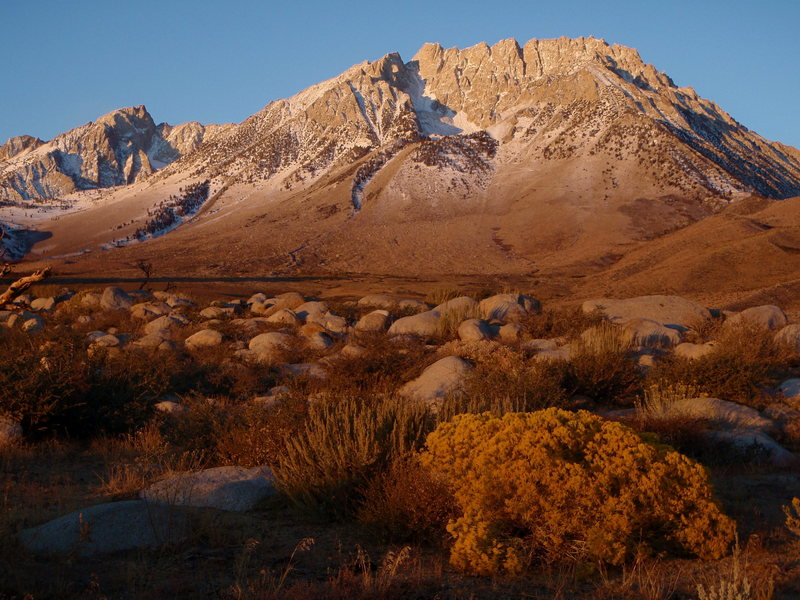 Mount Humphreys (left) and Basin Mountain, a couple of thirteeners, at sunrise from Buttermilk Country.